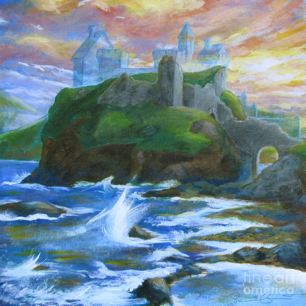 Samantha Painting - Dunscaith Castle - Shadows Of The Past by Samantha Geernaert