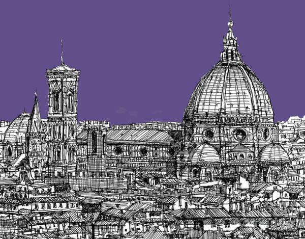 Duomo Di Firenze Wall Art - Drawing - Duomo In Lilac by Adendorff Design