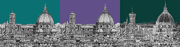 Duomo Di Firenze Wall Art - Drawing - Duomo Triptych Lilac And Turquoises by Adendorff Design