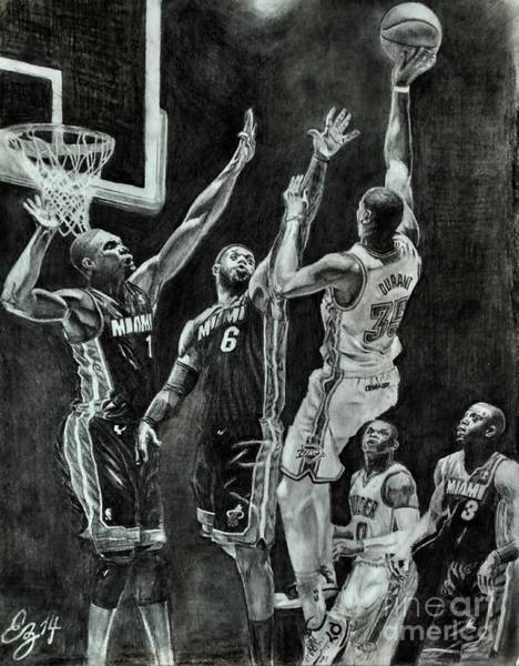 Nba Drawing - Durant For The Win by Ezra Strayer