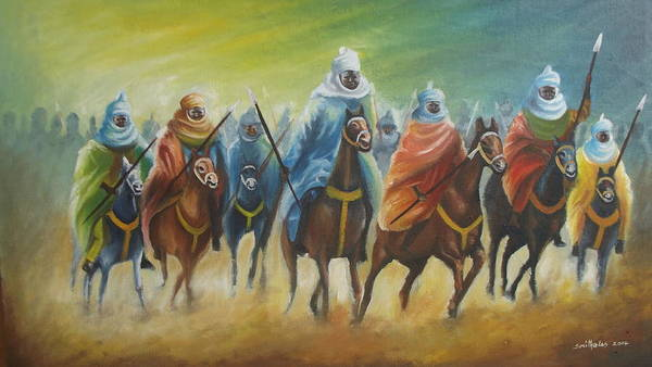 Nigeria Painting - Durbar Riders by Olaoluwa Smith