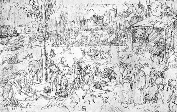 Pleasure Drawing - Durer Drawing Pleasures Of The World by Albrecht Durer