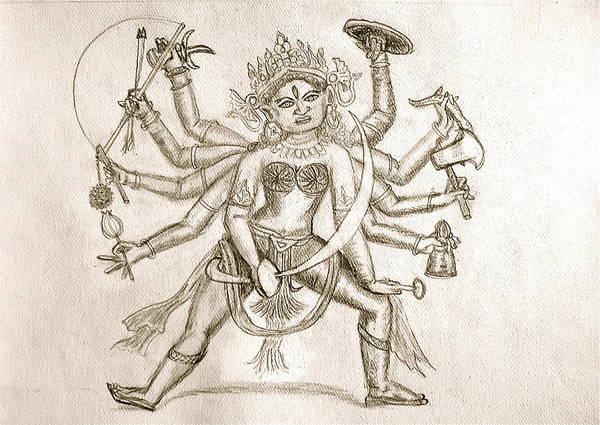Hindu Goddess Drawing - Durga by Cheryl Bond