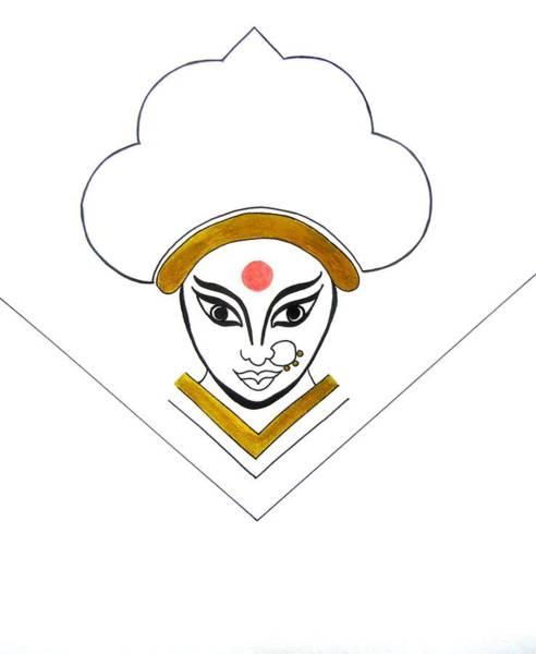Hindu Goddess Drawing - Durga Maa by Kruti Shah