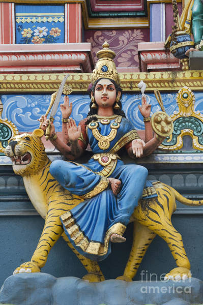 Hindu Goddess Wall Art - Photograph - Durga Statue On Hindu Gopuram by Tim Gainey