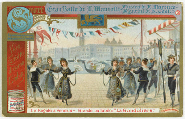 Traditional Dances Drawing - During The Regatta At Venezia  (venice) by Mary Evans Picture Library