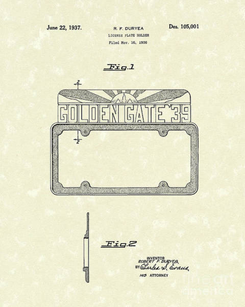 Drawing - Duryea License Holder 1937 Patent Art by Prior Art Design