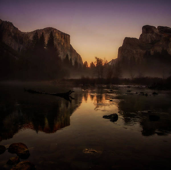 Dusk At Valley View Yosemite National Park Art Print