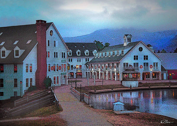 Digital Art - Dusk Before Snow At Town Square by Nancy Griswold