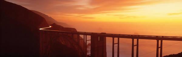 Coastal Highway Wall Art - Photograph - Dusk Hwy 1 W Bixby Bridge Big Sur Ca Usa by Panoramic Images