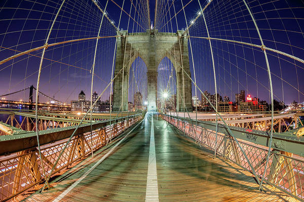 Fish Eye Lens Photograph - Dusk On The Brooklyn Bridge, New York by David Clapp