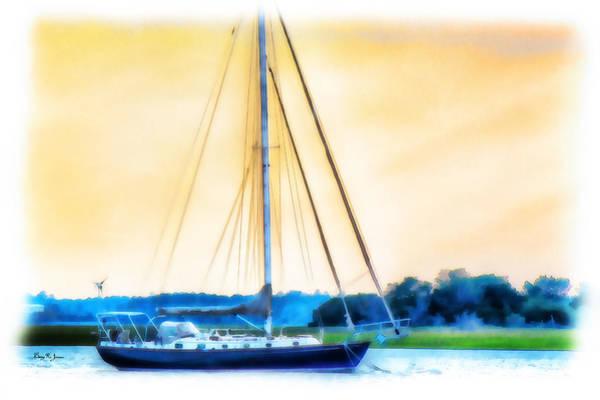 Photograph - Sailboat - Coastal - Dusk On The Coast by Barry Jones