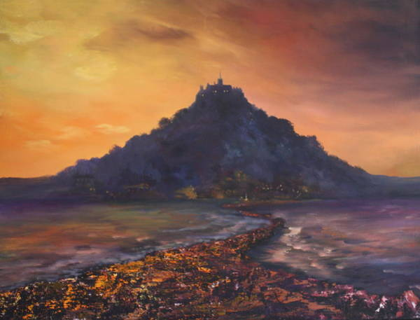 Newlyn Painting - Dusk Over St Michaels Mount Cornwall by Jean Walker
