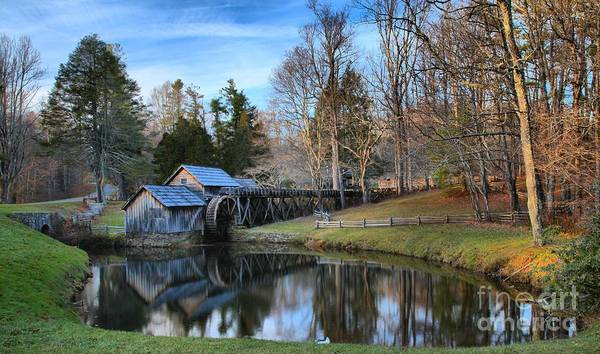 Photograph - Dusk Reflections At Mabry Mill by Adam Jewell