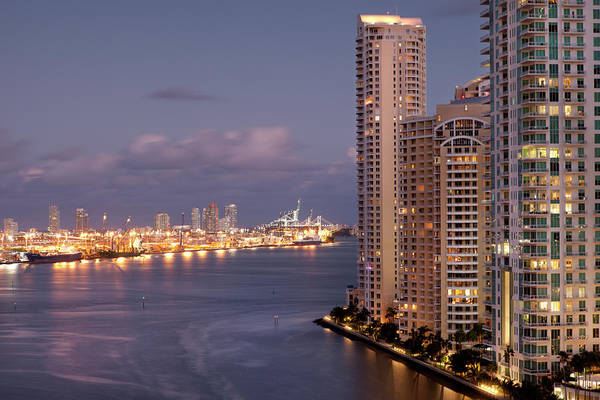 Dade Photograph - Dusk View From Brickell To The Port Of by Marcaux