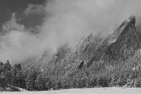 Photograph - Dusted Flatirons Low Clouds Boulder Colorado Bw by James BO Insogna