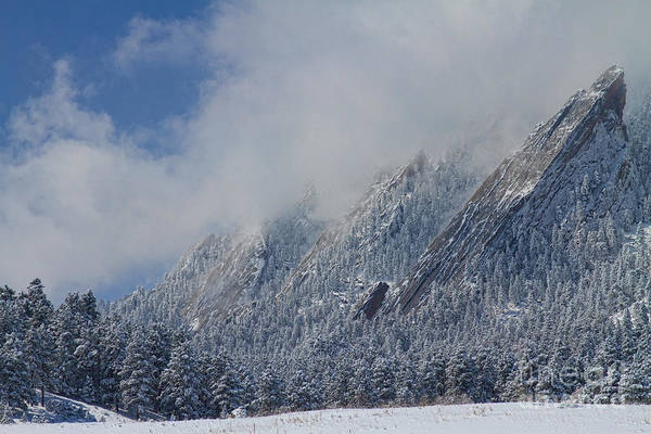 Photograph - Dusted Flatirons Low Clouds Boulder Colorado by James BO Insogna