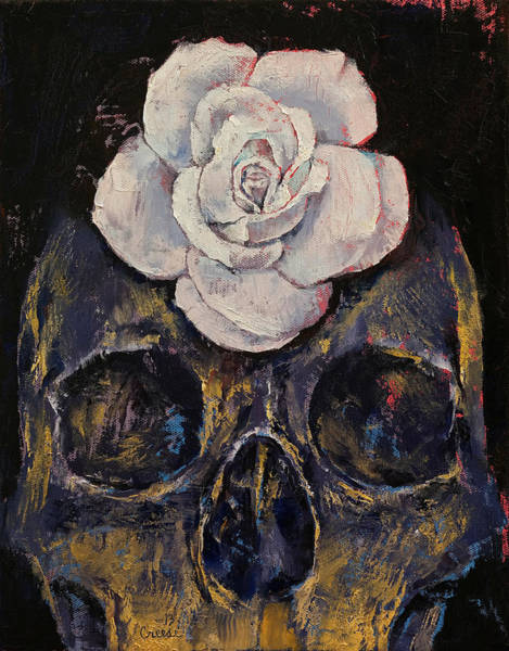 White Zombie Painting - White Rose by Michael Creese