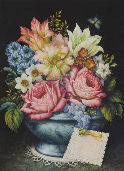 Doily Painting - Dutch Flowers by Lynn Bywaters