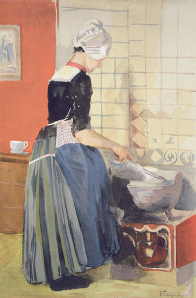 Interior Drawing - Dutch Girl Cooking, From Lestampe by Ferdinand-Jean Luigini