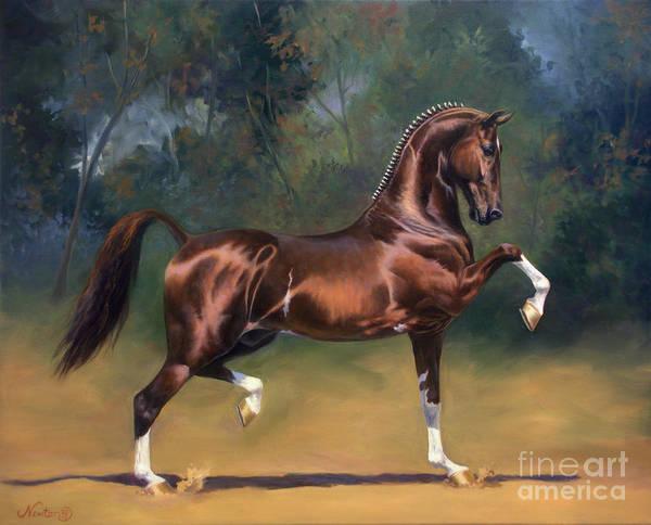 Jeanne Newton Schoborg Wall Art - Painting - Dutch Harness Horse Saffraan by Jeanne Newton Schoborg