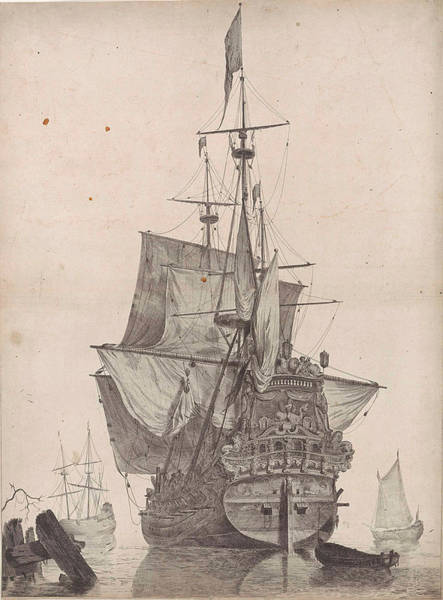 Wall Art - Drawing - Dutch Warship, Anonymous by Anonymous