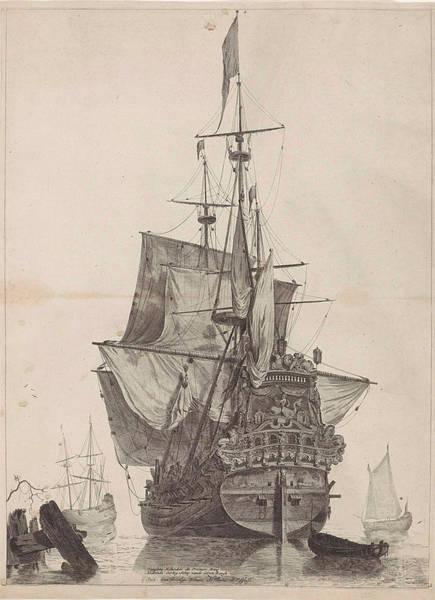 Wall Art - Drawing - Dutch Warship, Print Maker Anonymous, Gerard Valck by Anonymous And Gerard Valck
