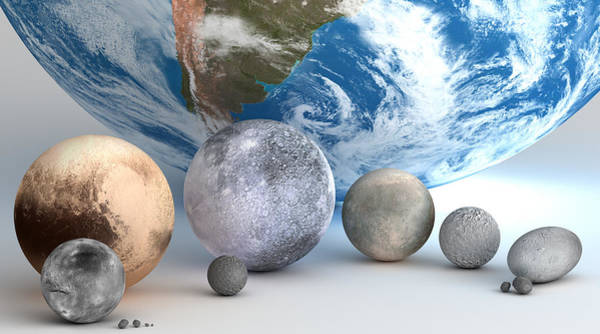 Wall Art - Photograph - Dwarf Planets And Moons Compared by Mark Garlick/science Photo Library