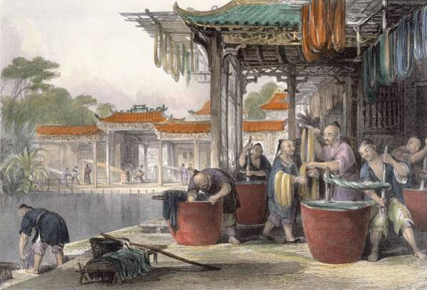 Chinese Drawing - Dyeing And Winding Silk, From China by Thomas Allom