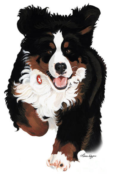 Pup Painting - Dylan Rocks by Liane Weyers