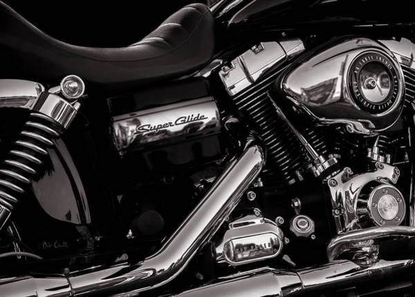 Harley Davidson Black And White Wall Art - Photograph - Dyna Super Glide Custom by Bob Orsillo