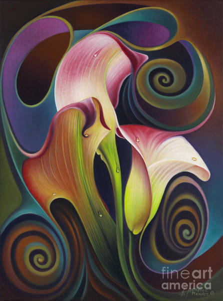 Painting - Dynamic Floral 4 Cala Lillies by Ricardo Chavez-Mendez