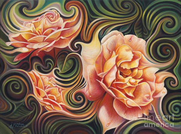 Wall Art - Painting - Dynamic Floral V  Roses by Ricardo Chavez-Mendez
