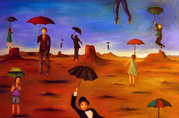 Wall Art - Painting - Spirit Of The Flying Umbrellas Edit 5 by Leah Saulnier The Painting Maniac