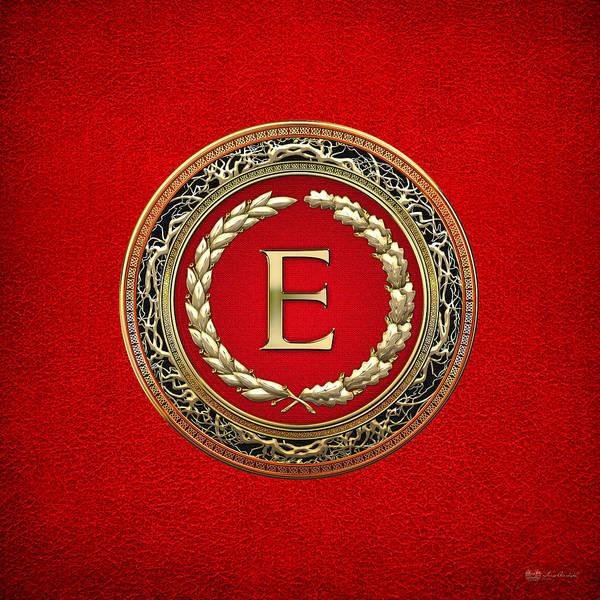 Digital Art - E - Gold Vintage Monogram On Red Leather by Serge Averbukh