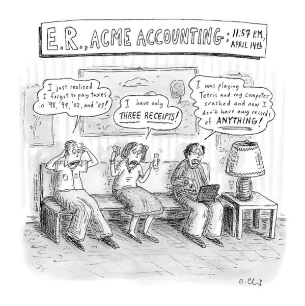 2004 Drawing - E. R., Acme Accounting:  11:57 P.m., April 14th by Roz Chast