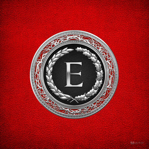 Digital Art - E - Silver Vintage Monogram On Red Leather by Serge Averbukh