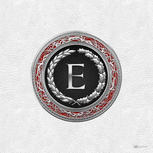 Digital Art - E - Silver Vintage Monogram On White Leather by Serge Averbukh