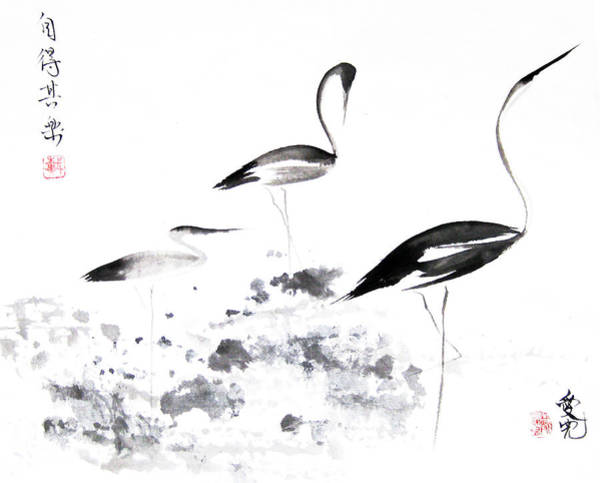 Egrets Wall Art - Painting - Each Finds Joy In His Own Way by Oiyee At Oystudio
