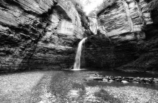 Photograph - Eagle Cliff Falls In Black And White by Trina  Ansel