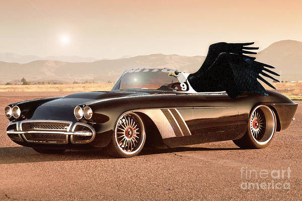 Desert Mixed Media - Eagle On Chevrolette Corvette by Drawspots Illustrations