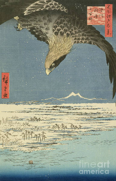 Far East Painting - Eagle Over One Hundred Thousand Acre Plain At Susaki by Hiroshige