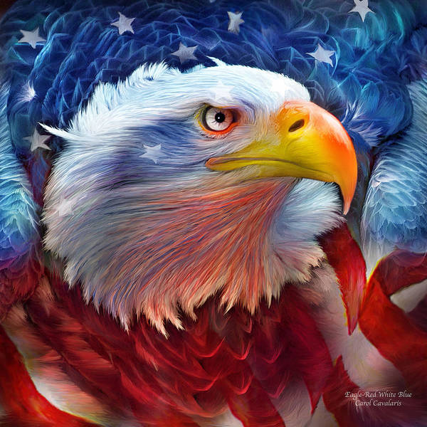 Wall Art - Mixed Media - Eagle Red White Blue by Carol Cavalaris