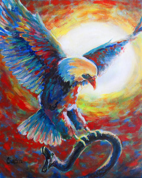 Wall Art - Painting - Eagle Takes Charge by Tamer and Cindy Elsharouni
