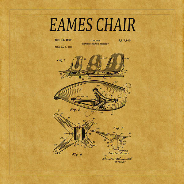 Photograph - Eames Chair Patent 3 by Andrew Fare