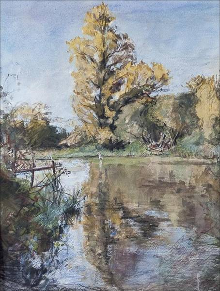 Riverbank Painting - Early Autumn On The River Test by Caroline Hervey-Bathurst