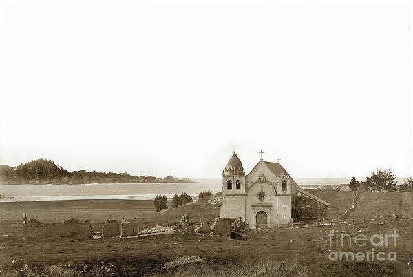 California Mission Photograph - Early Carmel Mission And Point Lobos California Circa 1884 by California Views Archives Mr Pat Hathaway Archives