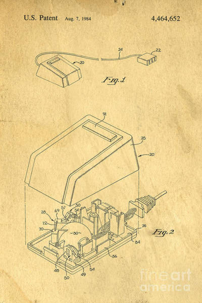 Digital Art - Early Computer Mouse Patent Yellowed Paper by Edward Fielding