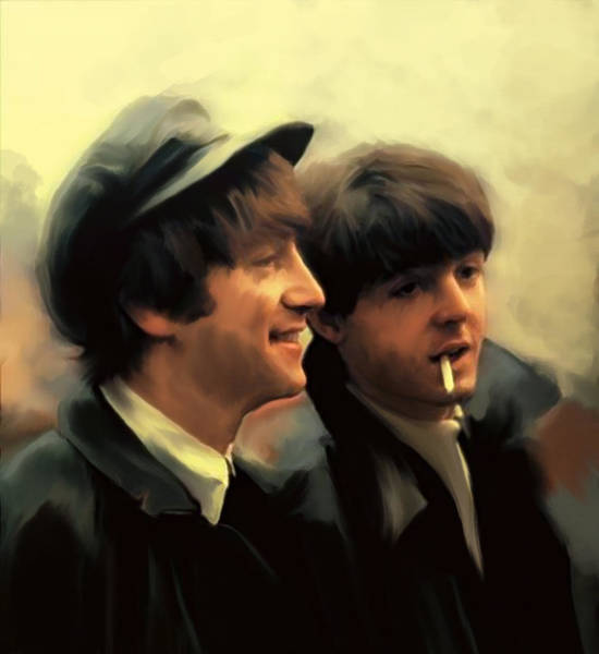 Wall Art - Painting - Early Days II John Lennon And Paul Mccartney by Iconic Images Art Gallery David Pucciarelli