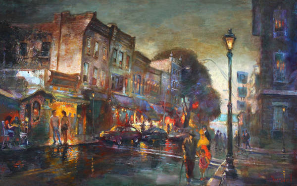 St Painting - Early Evening In Main Street Nyack by Ylli Haruni